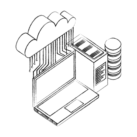 cloud computing laptop database server connection network vector illustration hand drawing Banque d'images - 110418397
