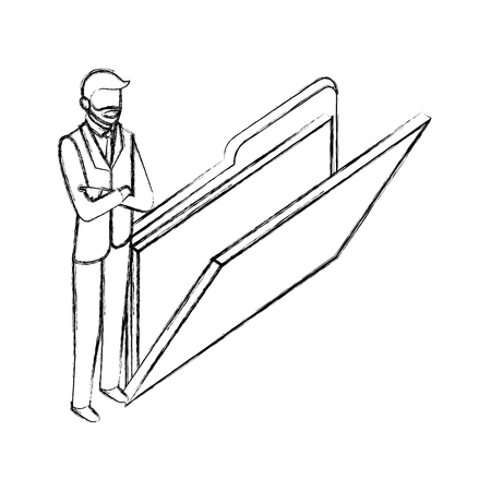 businessman with folder file data network vector illustration hand drawing Illustration