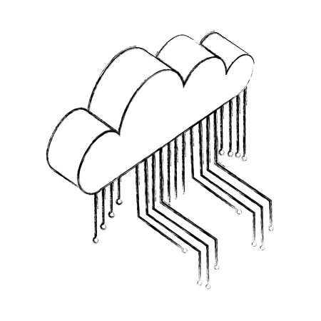 cloud computing storage circuit digital vector illustration hand drawing