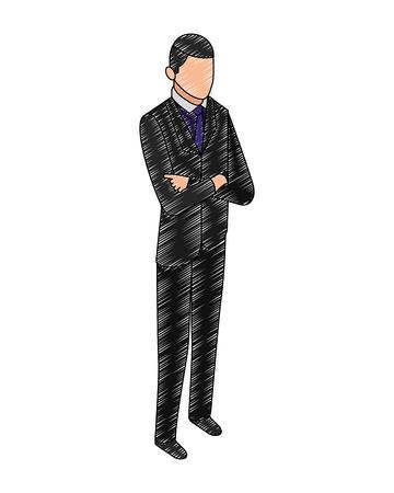 data network businessman male bearded vector illustration hand drawing vector illustration
