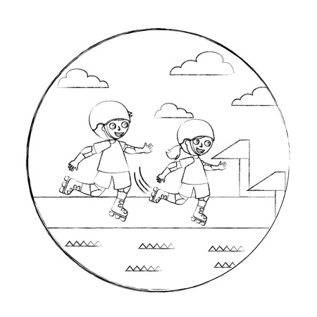 little boy and girl in roller skate race vector illustration hand drawing