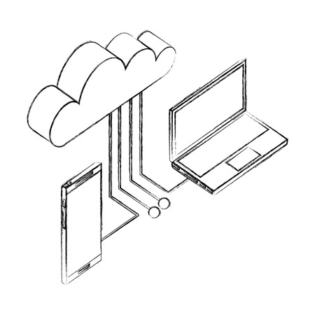 laptop smartphone cloud computing connection network data vector illustration hand drawing Illustration