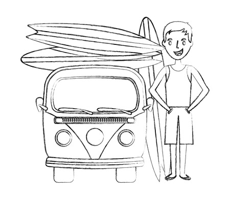 tourist man with van and surfboards vector illustration hand drawing