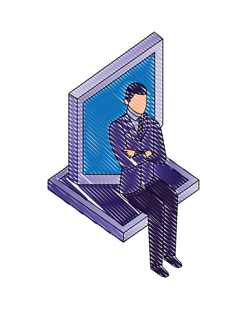 businessman sitting with shield protection vector illustration