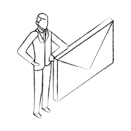 Businessman with enveloppe messsage mail vector illustration dessin à la main Vecteurs