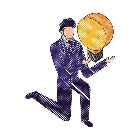 businessman on the knee with bulb idea vector illustration