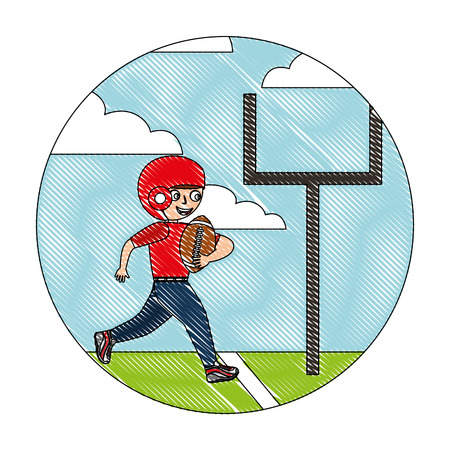 young boy player american football in the field vector illustration