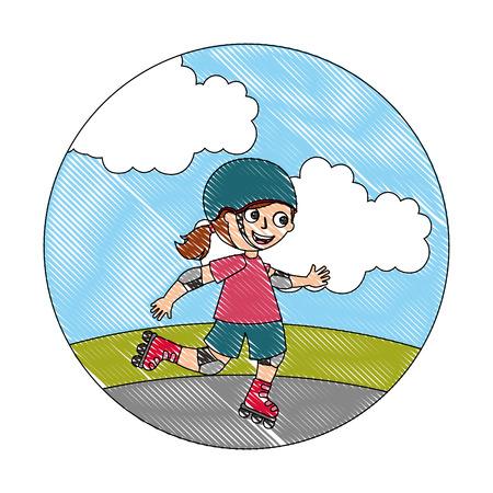 Jolie fille heureuse dans l'illustration vectorielle de patins à roulettes Vecteurs