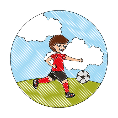 happy little boy playing with soccer ball vector illustration