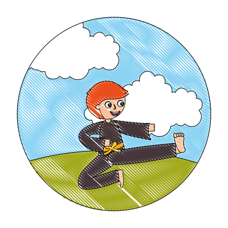 little boy practicing karate in the outdoors vector illustration Illustration