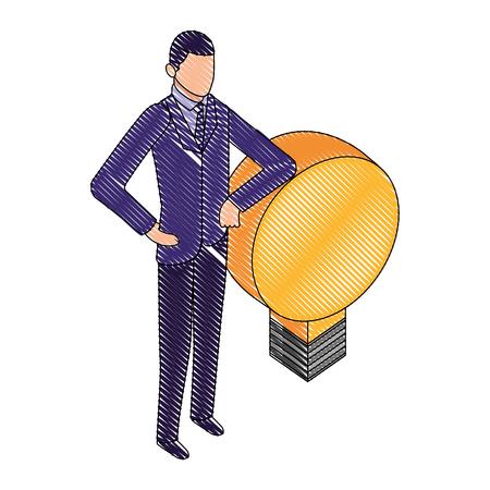 businesman with light bulb idea business vector illustration