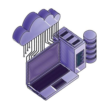cloud computing laptop database server connection network vector illustration Illustration