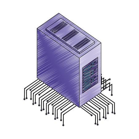 database server center circuit technology vector illustration