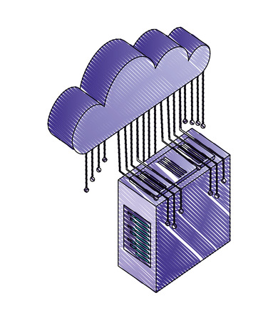 database server cloud connection circuit technology digital vector illustration