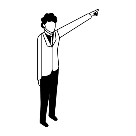 elegant businessman with hand up vector illustration design Vectores