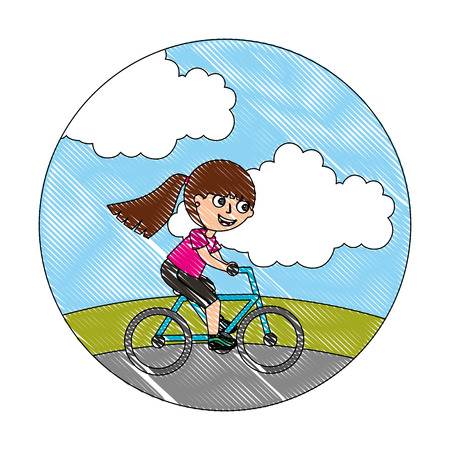 happy little girl riding in the bike vector illustration