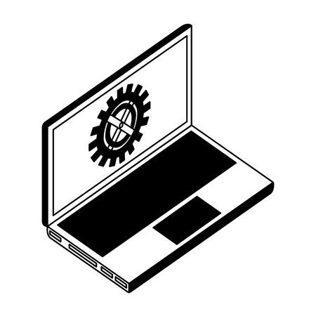 laptop computer with gear machine in screen vector illustration design Ilustração
