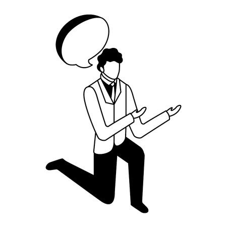 elegant businessman down on my knees with speech bubble vector illustration design