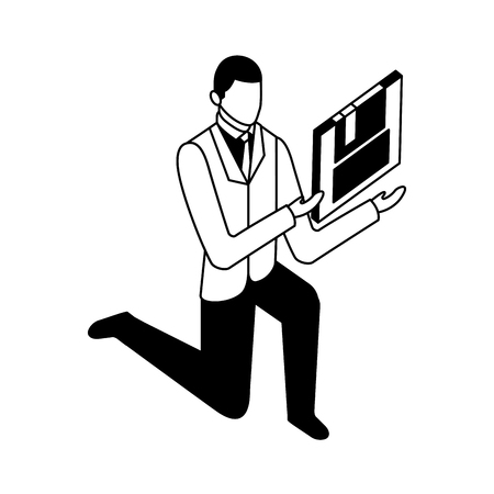 Elegante hombre de negocios de rodillas con diseño de ilustración de vector de disquete