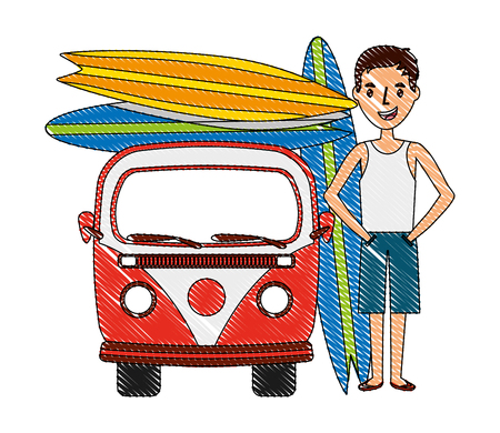 tourist man with van and surfboards vector illustration