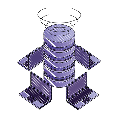laptops connected database server network digital technology vector illustration