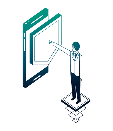 businessman with smartphone and shield isometric icon vector illustration design