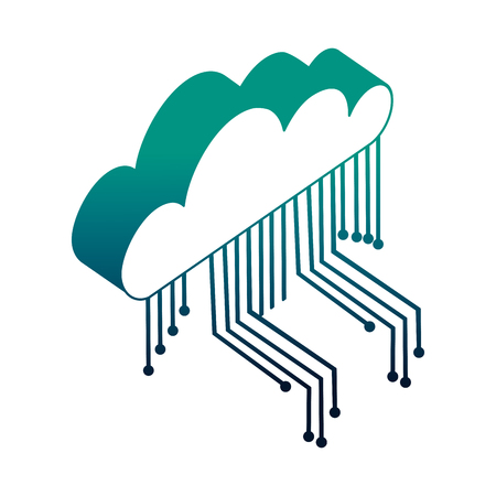 cloud computing with electronic circuit isometric icon vector illustration design Illustration