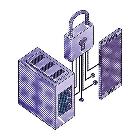 smartphone database center security network vector illustration