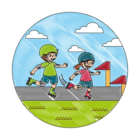 little boy and girl in roller skate race vector illustration