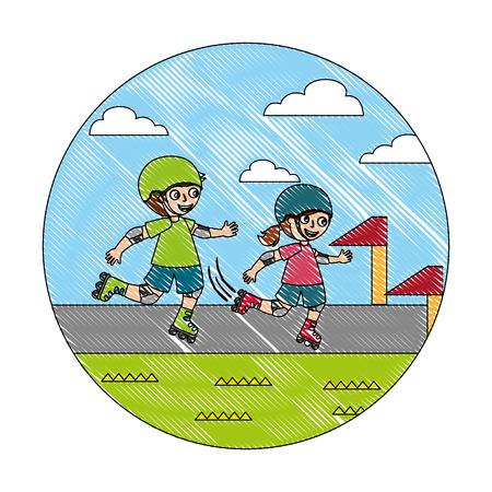 Niño y niña en la ilustración de vector de carrera de patines de ruedas Ilustración de vector