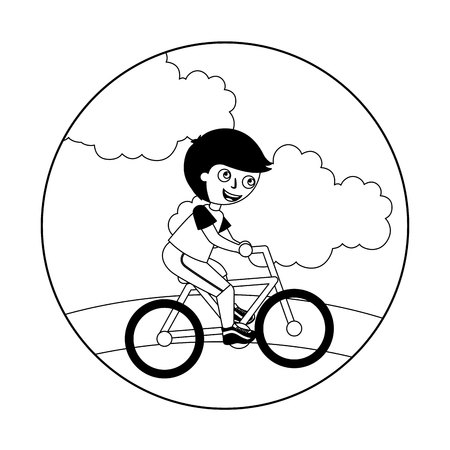 young boy in bicycle isolated icon vector illustration design  イラスト・ベクター素材