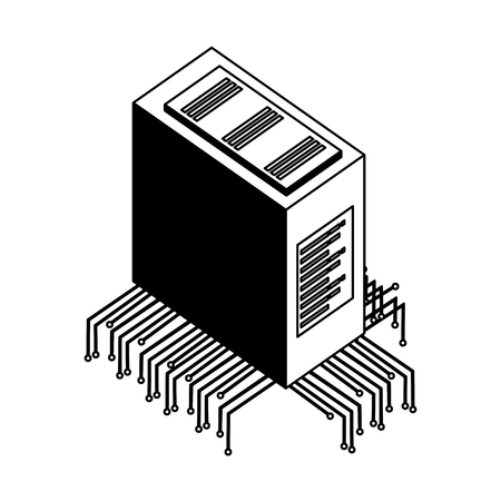 server data center with electronic circuit isometric icon vector illustration design Ilustração