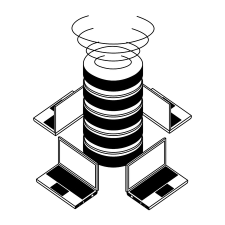 data center disks with laptops computers isometric icon vector illustration design Standard-Bild - 110418517