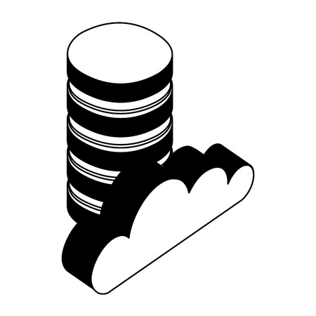 data center disks and cloud computing isometric icon vector illustration design 일러스트