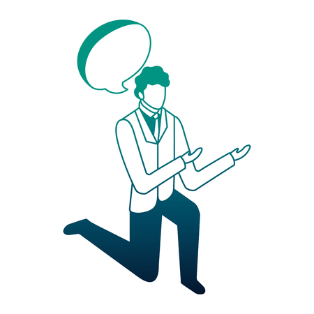 elegant businessman down on my knees with speech bubble vector illustration design Foto de archivo - 110418528