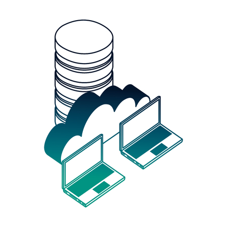 data center disks with laptops computers and cloud computing vector illustration design Illustration
