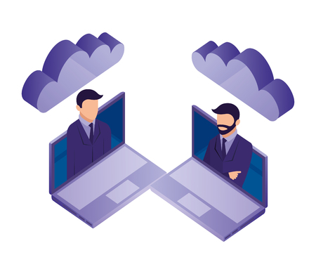 two business man in laptop cloud computing network vector illustration Illustration