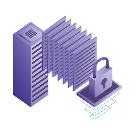 database server center security data network vector illustration
