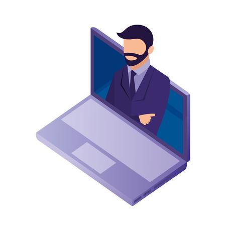 businessman in laptop online data network vector illustration