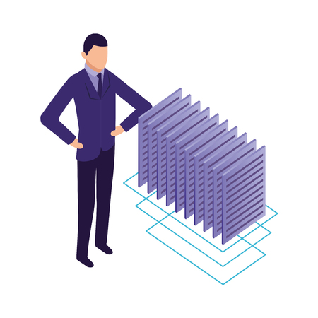 businessman and documents file data network vector illustration