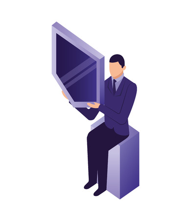 businessman sitting holding shield protection network vector illustration