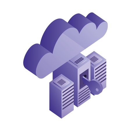 cyber security database server cloud computing network vector illustration