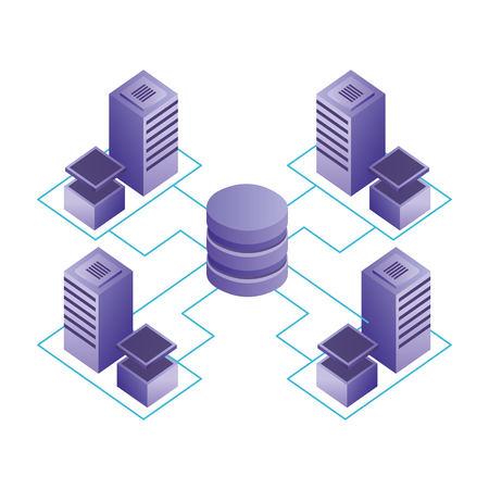 database center connected server storage network vector illustration Иллюстрация