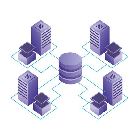 database center connected server storage network vector illustration Illustration