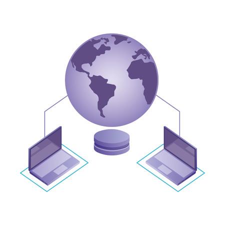world connected laptops database server network vector illustration Illustration