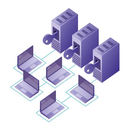 database center security connection laptops data network vector illustration Illustration