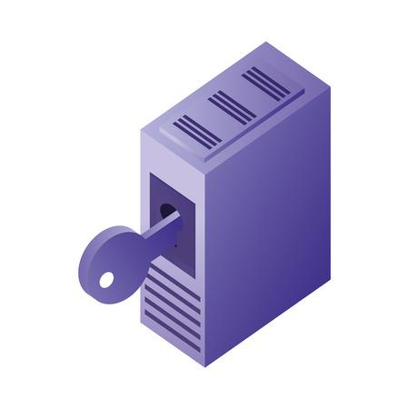 database server storage data network security vector illustration