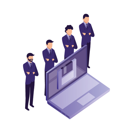 team business men group with laptop floppy network vector illustration