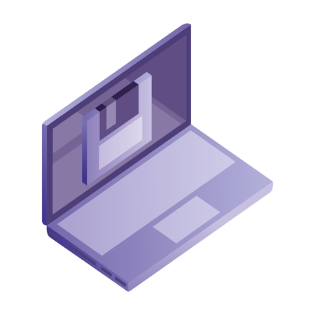 laptop computer floppy backup data network vector illustration Foto de archivo - 110418575