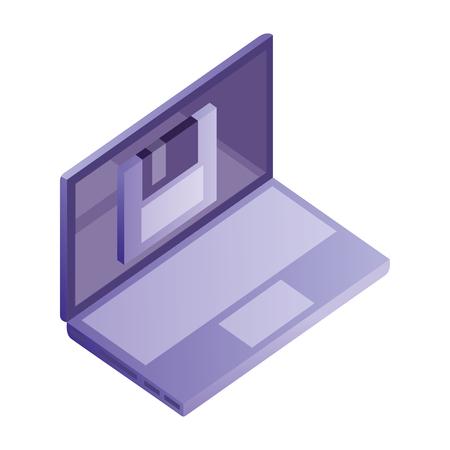laptop computer floppy backup data network vector illustration